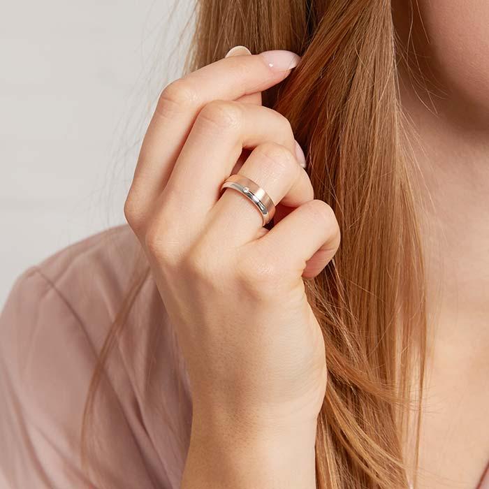 Damenring aus 925er Silber rosévergoldet mit Zirkonia