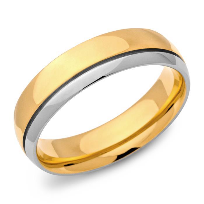 Vergoldeter Ring Edelstahl 6mm breit