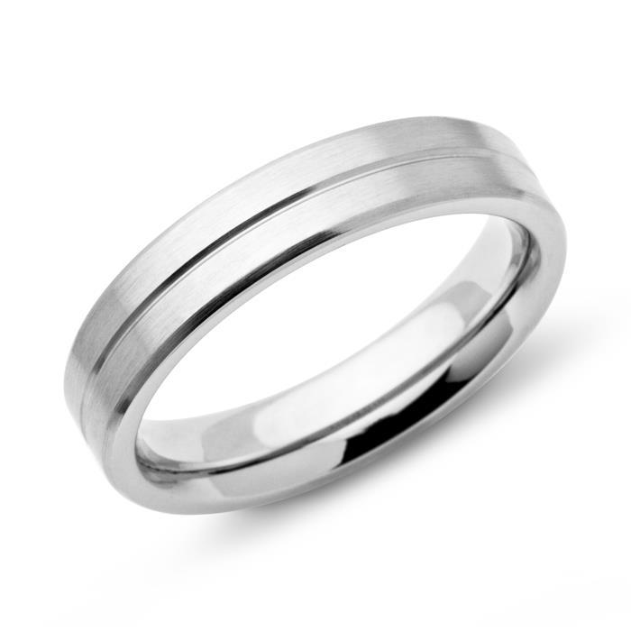 Moderner Ring Edelstahl matt 5mm Gravur möglich