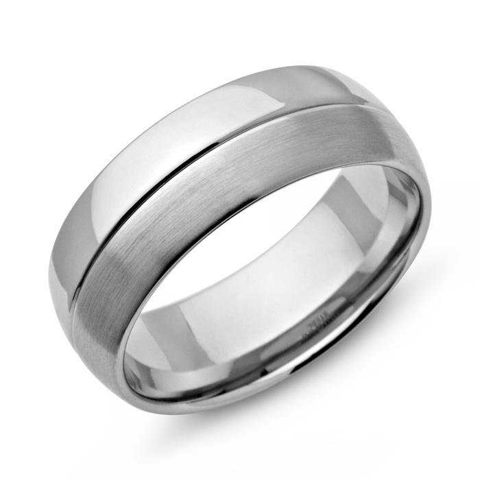 Moderner Ring Edelstahl matt/poliert Glanzrille
