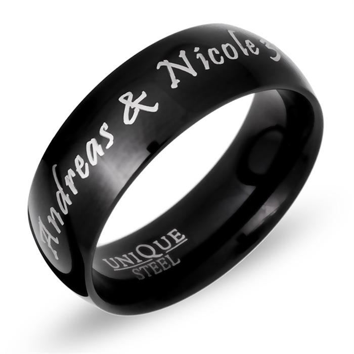 Ring Edelstahl schwarz inkl. Lasergravur