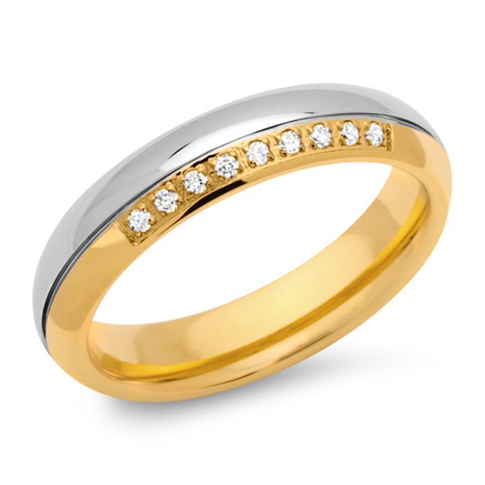 Edelstahlring teilvergoldet 5mm Zirkonia
