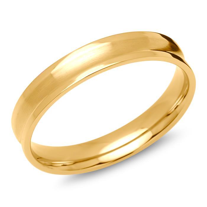 Herrenring Edelstahl gelbvergoldet 4mm
