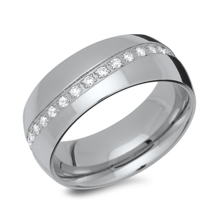 Edelstahl Ring poliert mit Zirkonia