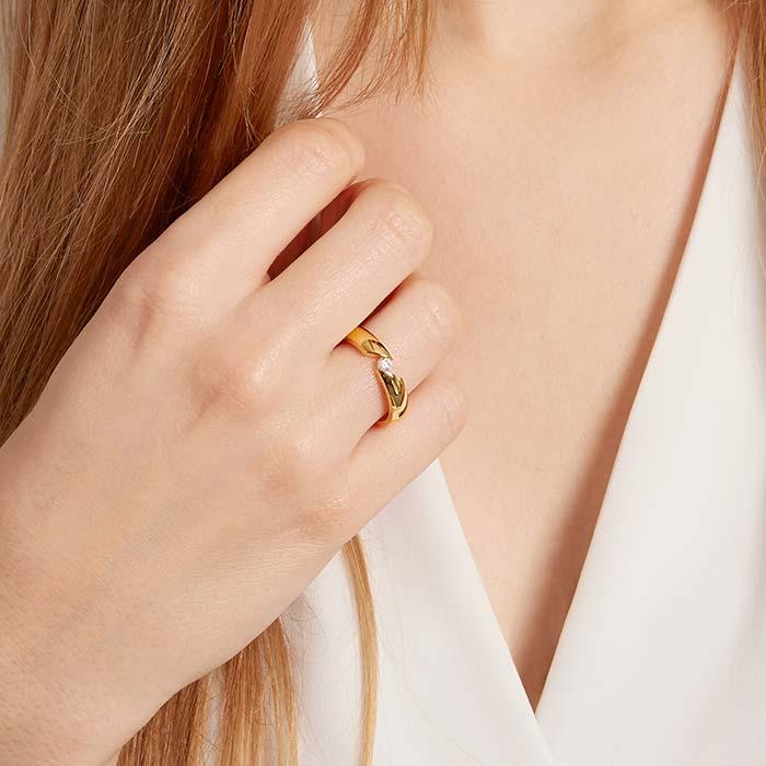 Gelbvergoldete Edelstahl Ehering mit Stein