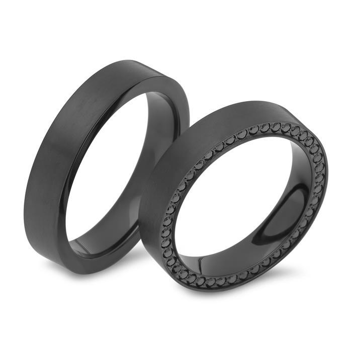 Schwarze Eheringe mit Zirkonia 4,5 mm breit