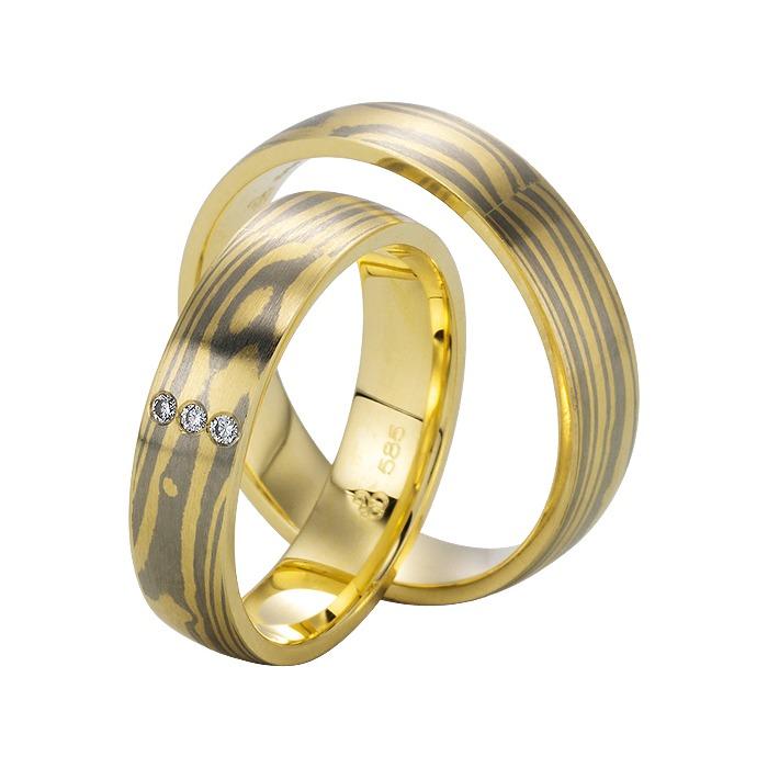 Eheringe Gelb- und Weißgold 5mm