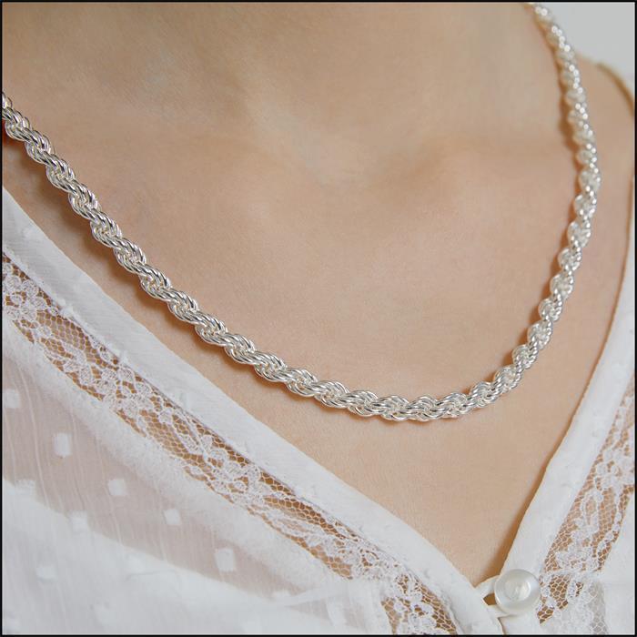 925 Silberkette: Kordelkette Silber 6mm