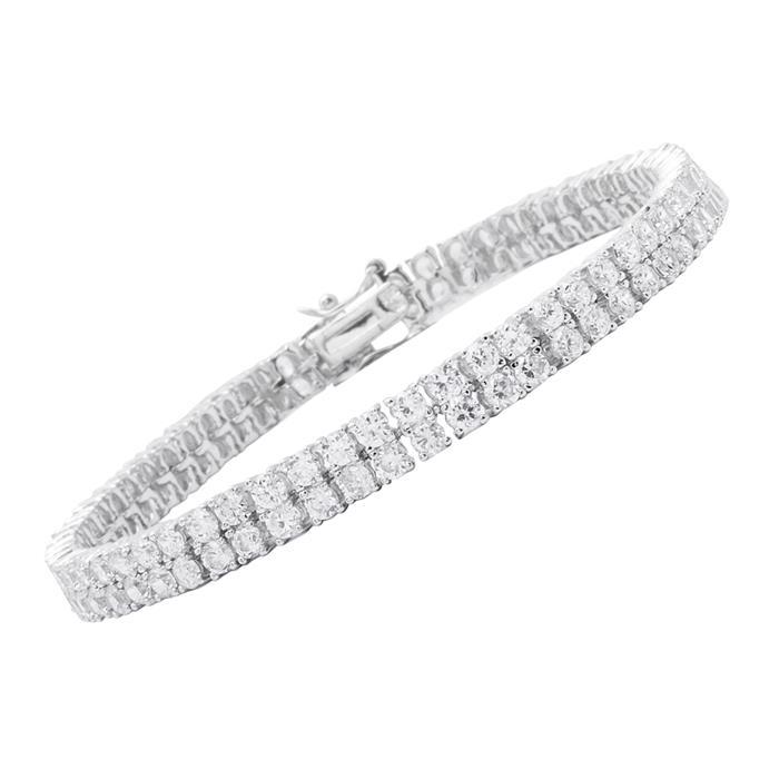 Modernes Armband Silber Zirkonia Steine 22g