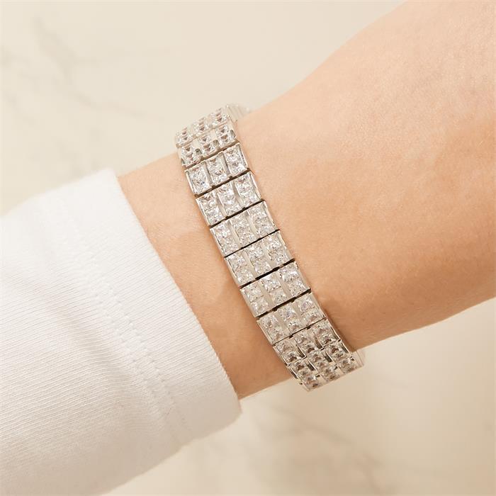 Exklusives Armband Silber Zirkonia Steine 54g