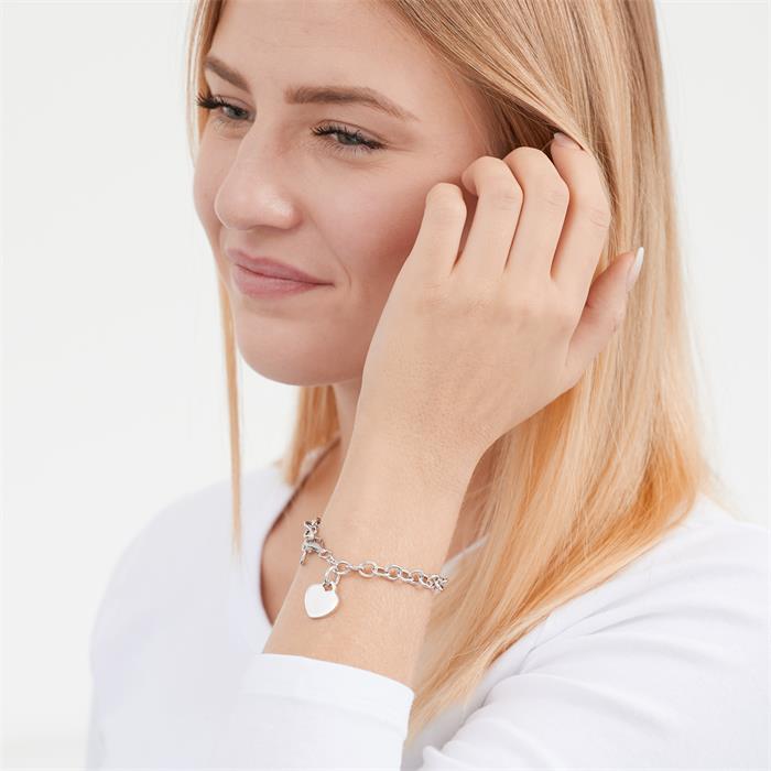 Modernes Armband 925 Silber mit Herzanhänger