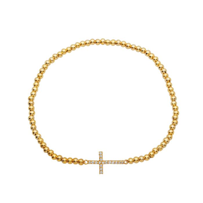 Silberarmband vergoldet Kreuzelement Zirkonia