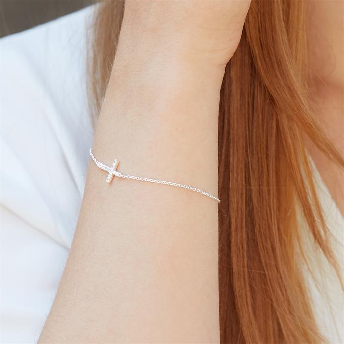 925 Silberarmband mit Kreuzanhänger Zirkonia