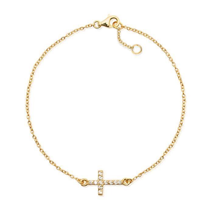 Vergoldetes 925 Silberarmband Kreuzanhänger