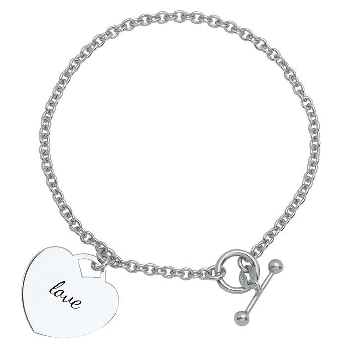 Silberarmband Durchsteckverschluss Herzelement
