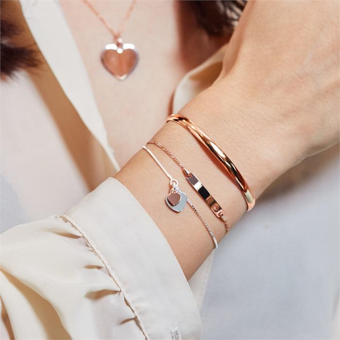 Armband 925er Silber mit Herzanhängern bicolor