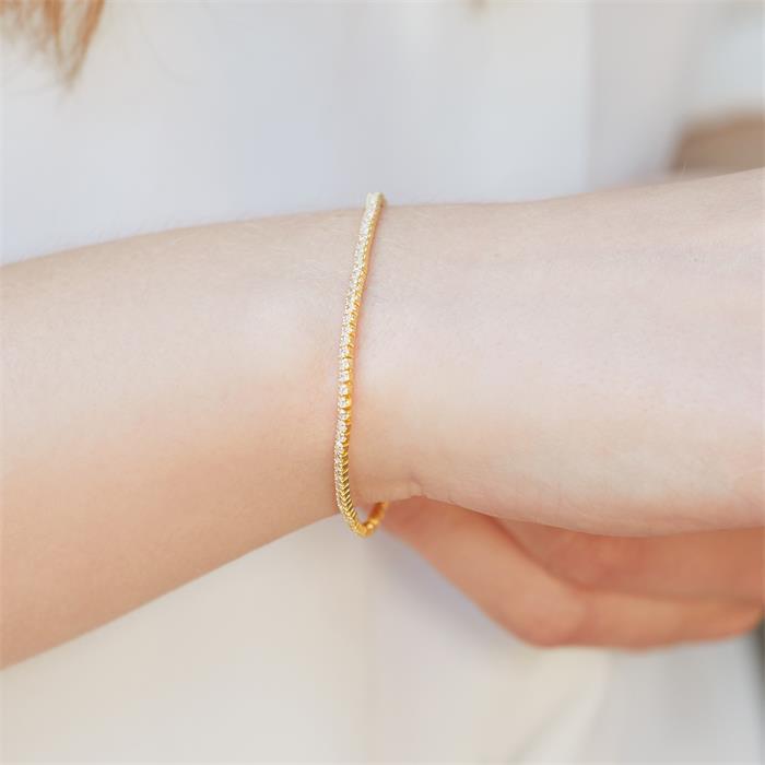 Vergoldetes 925er Silberarmband mit Zirkonia