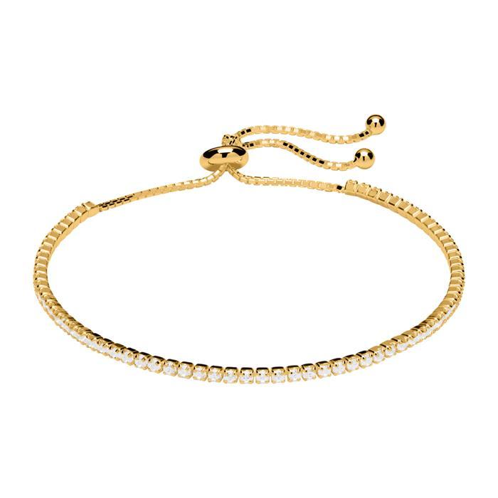 Damenarmband 925er Silber vergoldet Zirkonia