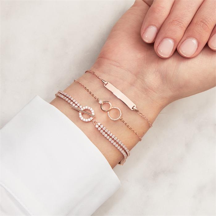 Armband 925er Silber rosévergoldet Zirkonia