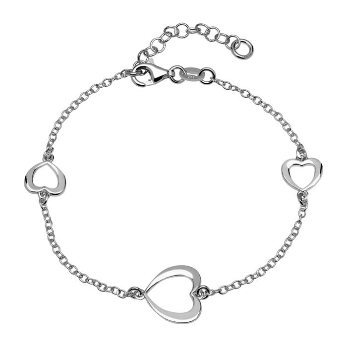 925er Silberarmband mit Herzelementen