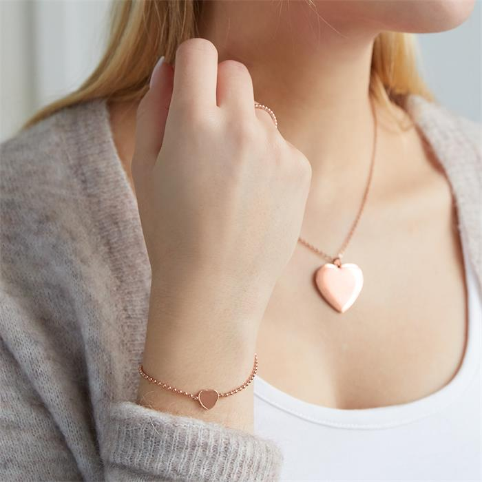 Armband Herz 925er Silber rosévergoldet gravierbar
