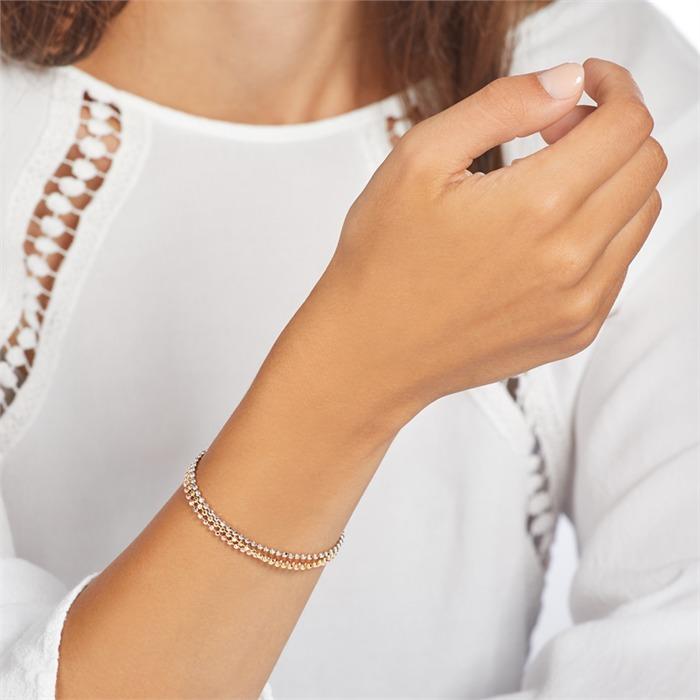 Mehrreihiges Armband aus 925er Silber tricolor