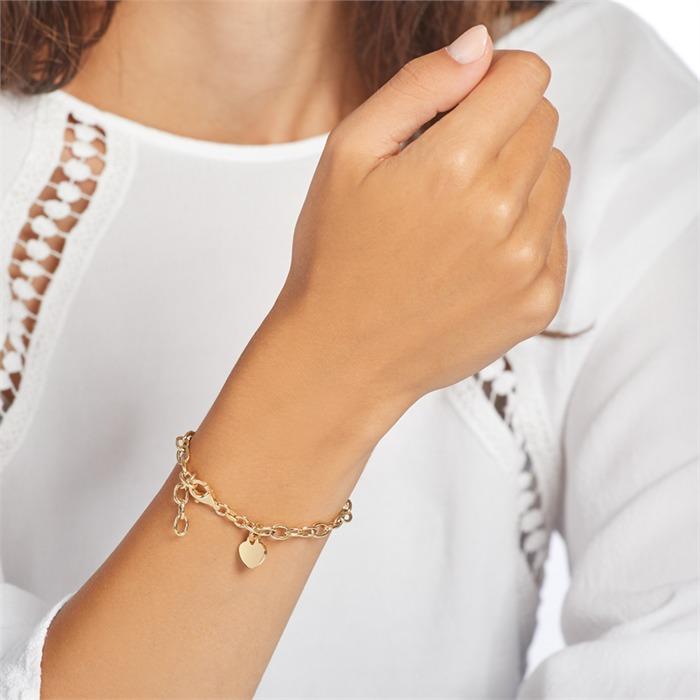 Vergoldetes 925er Silberarmband mit Herz gravierbar