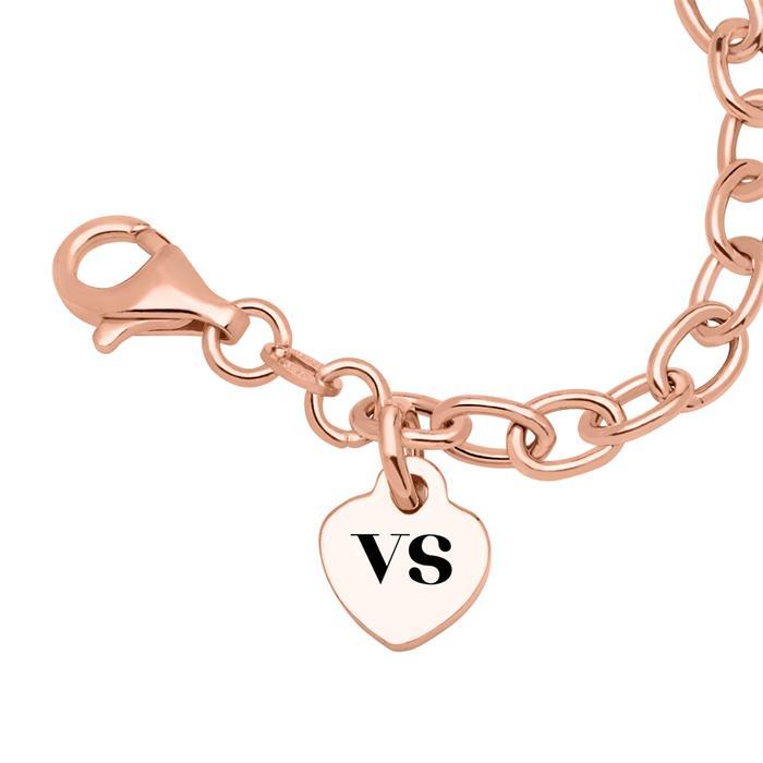Rosévergoldetes 925er Silber Armband Herz gravierbar