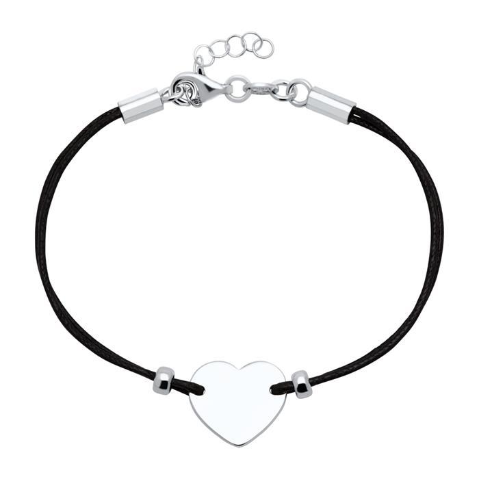 Schwarzes Textilarmband 925er Silber Herz gravierbar