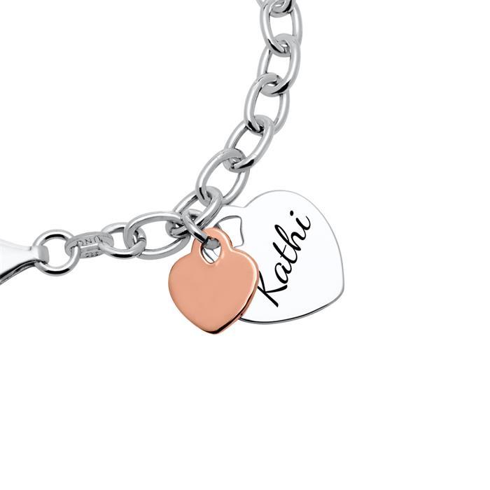 925er Silber Armband Herzen bicolor gravierbar