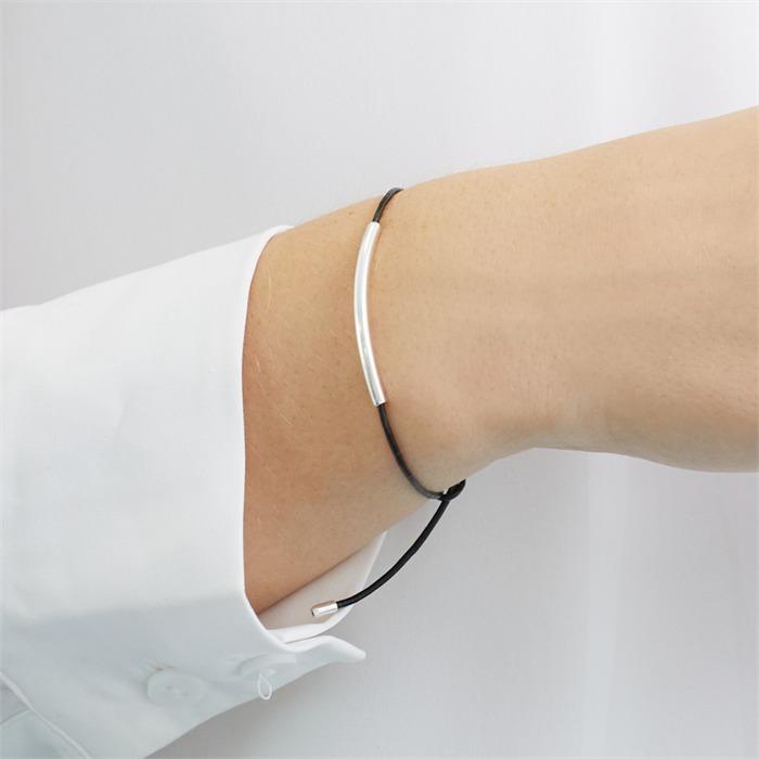 Schwarzes Textilarmband mit 925er Silberelementen