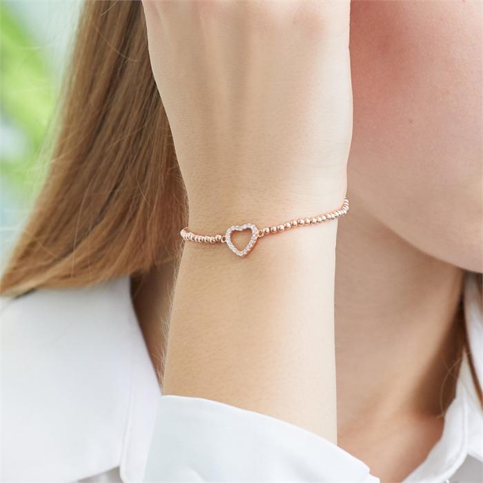 Rosévergoldetes 925er Silber Herzarmband Zirkonia