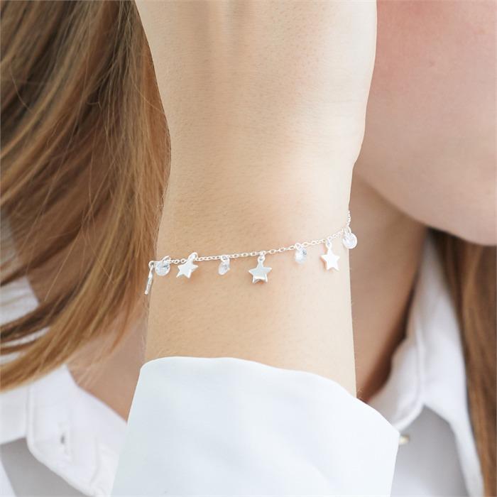 925er Silber Armband Sterne mit Zirkonia