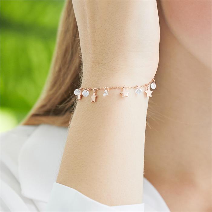 925er Silber Armband Sterne Zirkonia rosévergoldet