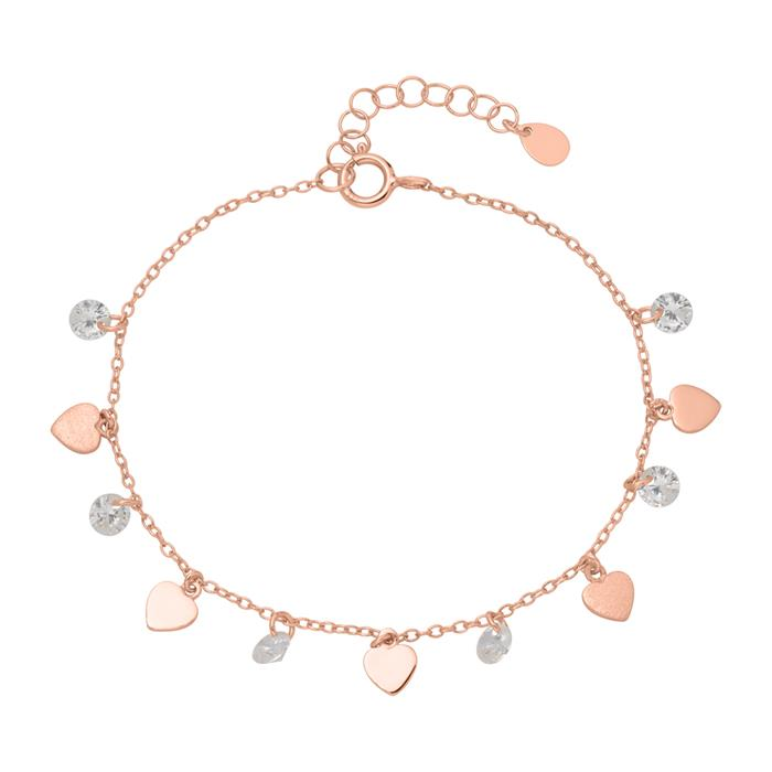 Armband Herzen 925er Silber rosévergoldet mit Zirkonia