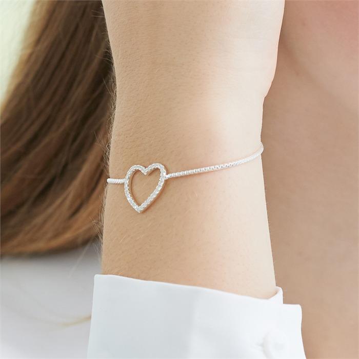Herzarmband aus Sterlingsilber mit Zirkonia