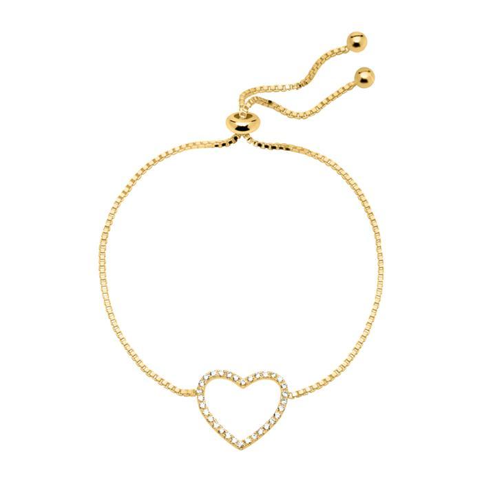 Armband Herz aus vergoldetem 925er Silber mit Zirkonia