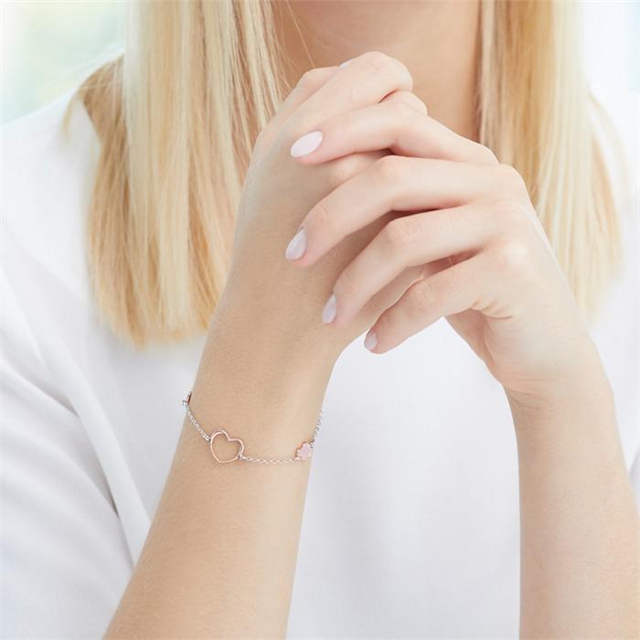925er Silber Armband Herzen rosévergoldet