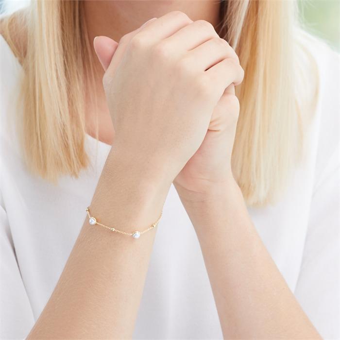 Armband aus vergoldetem 925er Silber mit Perlen