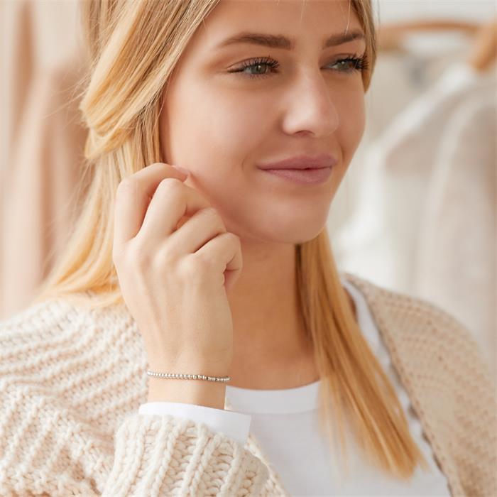Elastisches Perlenarmband für Damen aus Sterlingsilber