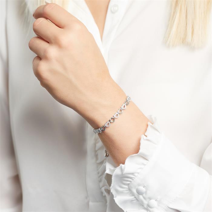 Armband Herzen aus Sterlingsilber mit Zirkonia