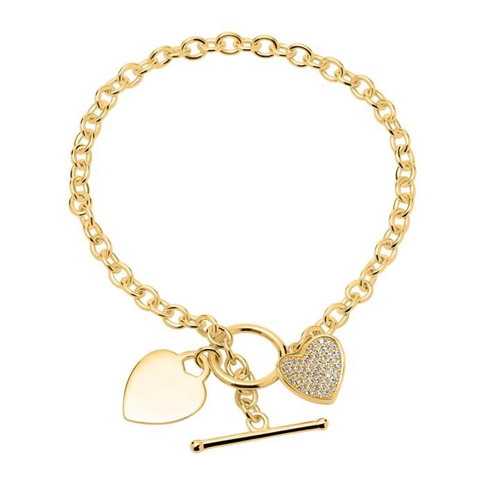 Unique Armband Herzen 925er Silber Gold Zirkonia Gravierbar