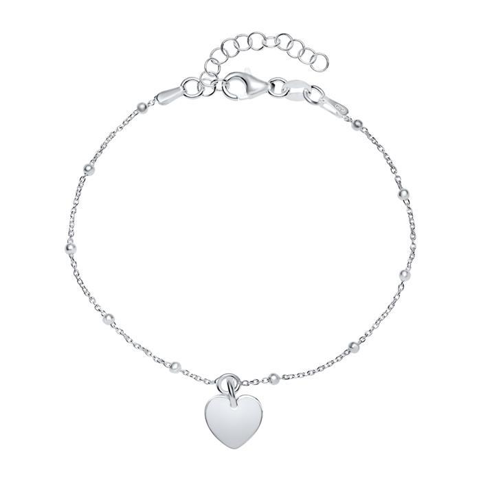 Gravierbares 925er Silber Armband Herz für Damen
