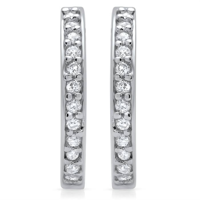 Moderne Creolen 925 Sterling Silber Zirkonia