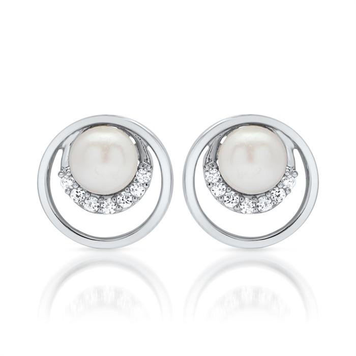 Glänzende Perlen Ohrstecker 925 Sterling Silber