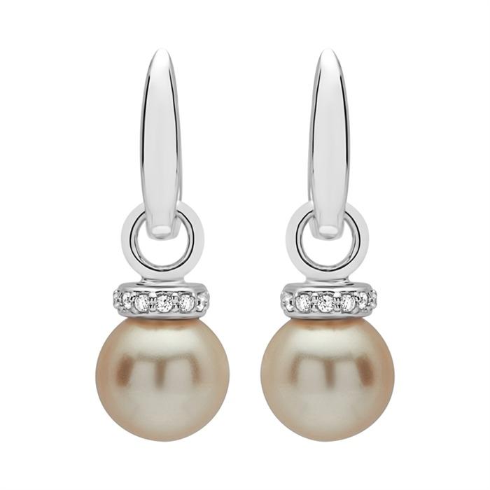 Einhänger für Systemohrschmuck Silber synthetische Perle