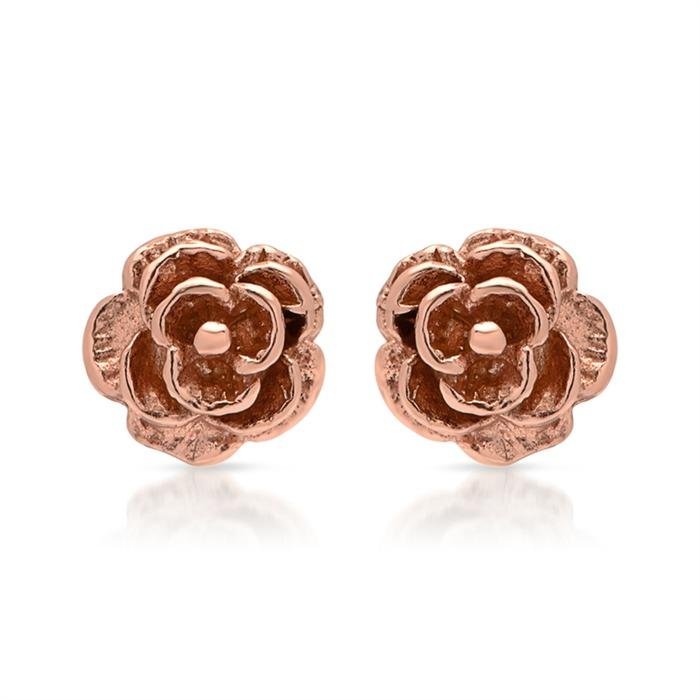 Rosé-vergoldete 925 Silber Ohrstecker Blütenform