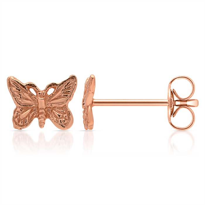 Ohrschmuck Silber rosé-vergoldet Schmetterling