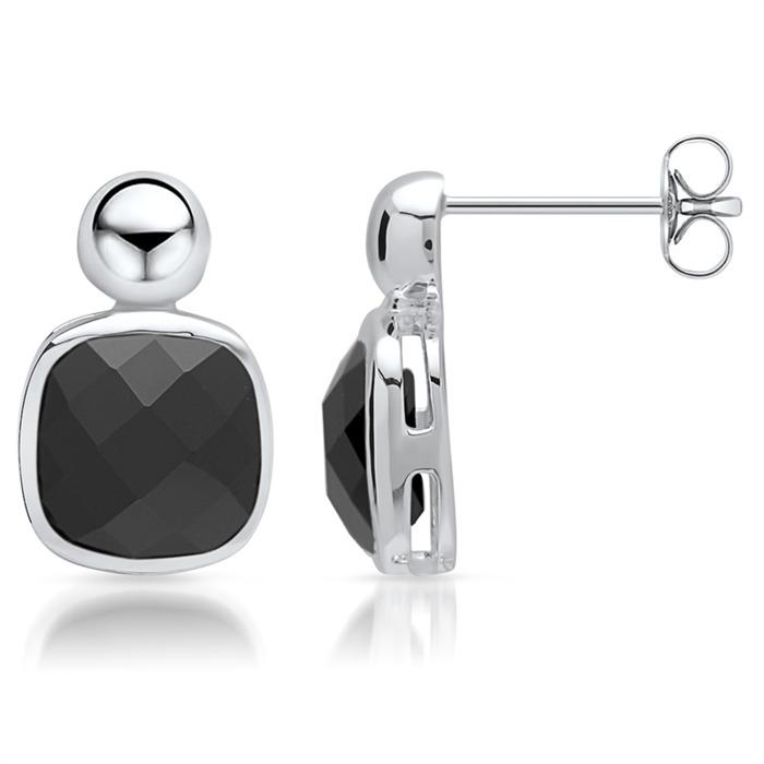 Ohrstecker 925er Silber mit schwarzem Glasstein