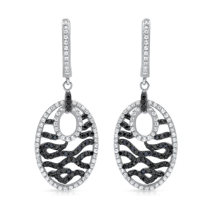 925 Silber Creolen schwarz-weißer Steinbesatz
